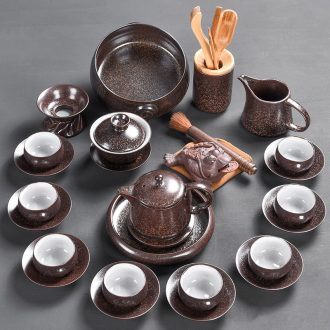 Tao blessing of household ceramics kung fu tea set creative obsidian jinzhan obsidian tea teapot set of tea cups