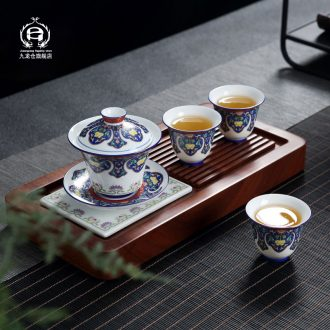 DH colored enamel of a complete set of ceramic tea set jingdezhen Chinese style household kung fu tea, contracted tea tray package