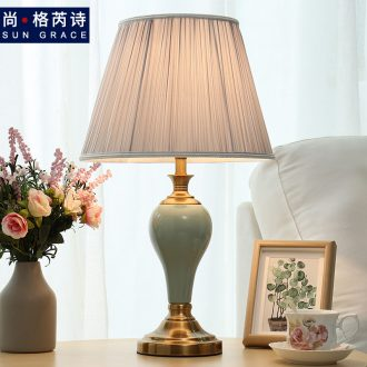 American desk lamp ceramic romantic wedding room home European Nordic ins contracted and contemporary sweet bedroom berth lamp