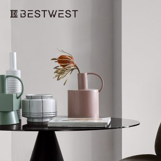 BEST WEST geometric kettle type ceramic vase model between soft light decoration key-2 luxury furnishing articles creative designer