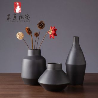 Black flower arranging furnishing articles of I sitting room is contracted decorative dried flower vases, jingdezhen ceramic vase zen study