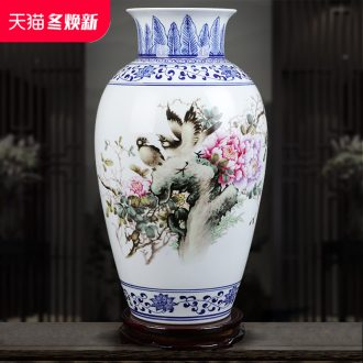 Jingdezhen ceramics vase hand - made pastel blue and white porcelain home sitting room adornment is placed crafts flower arrangement