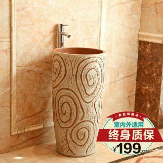 Jingdezhen ceramics art lavatory basin basin basin sink pillar suit integrated conjoined basin
