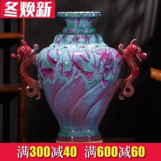 Jingdezhen ceramics vase furnishing articles up with jun porcelain Chinese sitting room adornment handicraft decoration office