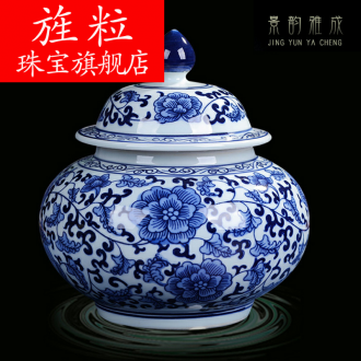 Continuous grain of jingdezhen ceramic POTS sub storage tank small household caddy fixings meters can receive porcelain jar