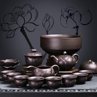 It still lane of a complete set of violet arenaceous kung fu tea set suit household lazy xi shi pot of ceramic cups accessories single pot of the teapot