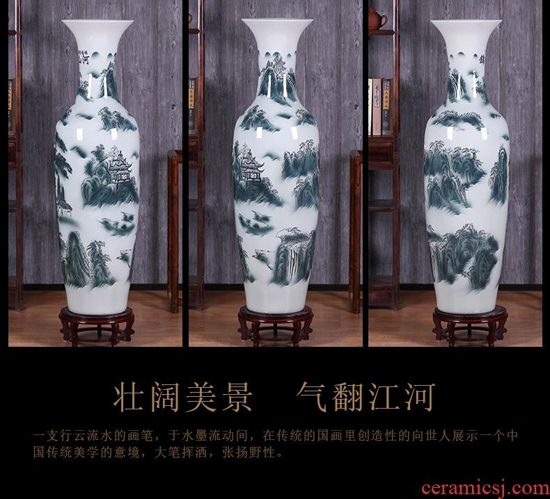 Jingdezhen ceramics vase 1 meter large ground vase sitting room TV ark, home furnishing articles decoration decoration - 584815674446
