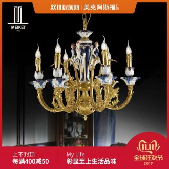 French chandelier European - style key-2 luxury villa droplight creative pastoral ceramic lamps and lanterns of the sitting room, dining - room whole copper chandelier bedroom