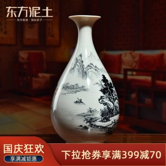 East mud hand-painted ceramics vase household living room TV cabinet decorative furnishing articles/blue mountains D45-69