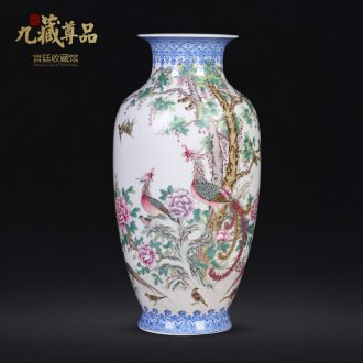 Jingdezhen ceramics hand-painted birds pay homage to the king the vase Chinese sitting room porch TV flower arranging decoration as furnishing articles