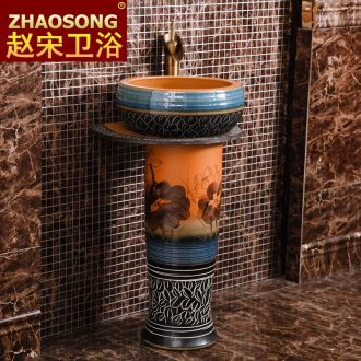 Restore ancient ways American household outdoor lavatory floor pillar basin sink ceramic lavabo outdoor courtyard garden