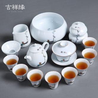 Auspicious margin white porcelain kung fu tea set ceramic tea ware ideas prevent hot teapot teacup bowl of a complete set of caddy fixings