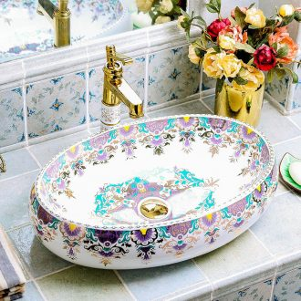 Hand washing dish oval ceramic creative household European toilet bath American art basin on the basin washing a face