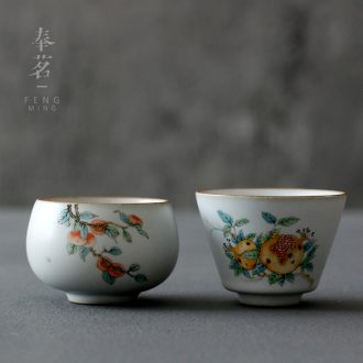 Serve tea which your up sample tea cup persimmon ceramic antique porcelain teacup kungfu open master cup personal cup