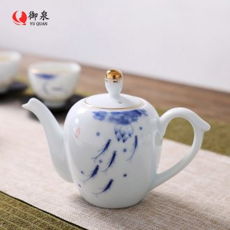Imperial springs, hand - made blue black ceramic teapot tea set single pot teapot contracted filtering kung fu tea, Chinese style
