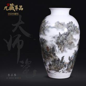 Master of jingdezhen ceramics dong-ming li hand-painted pastel landscape vase Chinese style living room TV ark flower arranging furnishing articles
