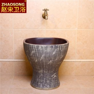Nordic retro ceramic conjoined mop pool square sweep the floor mop trough the balcony mop pool toilet basin antifreeze