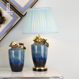 Colored enamel porcelain lamp sitting room luxury atmosphere the American creative villa crystal lighting lamps and lanterns of bedroom the head of a bed