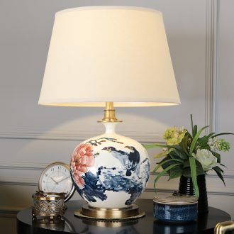 New Chinese style living room lamp jingdezhen blue and white porcelain hand - made lamp study lamp of bedroom the head of a bed full of copper lamp