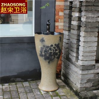 Floor type household one-piece pillar basin small toilet lavabo ceramic lavatory sink outdoor restoring ancient ways