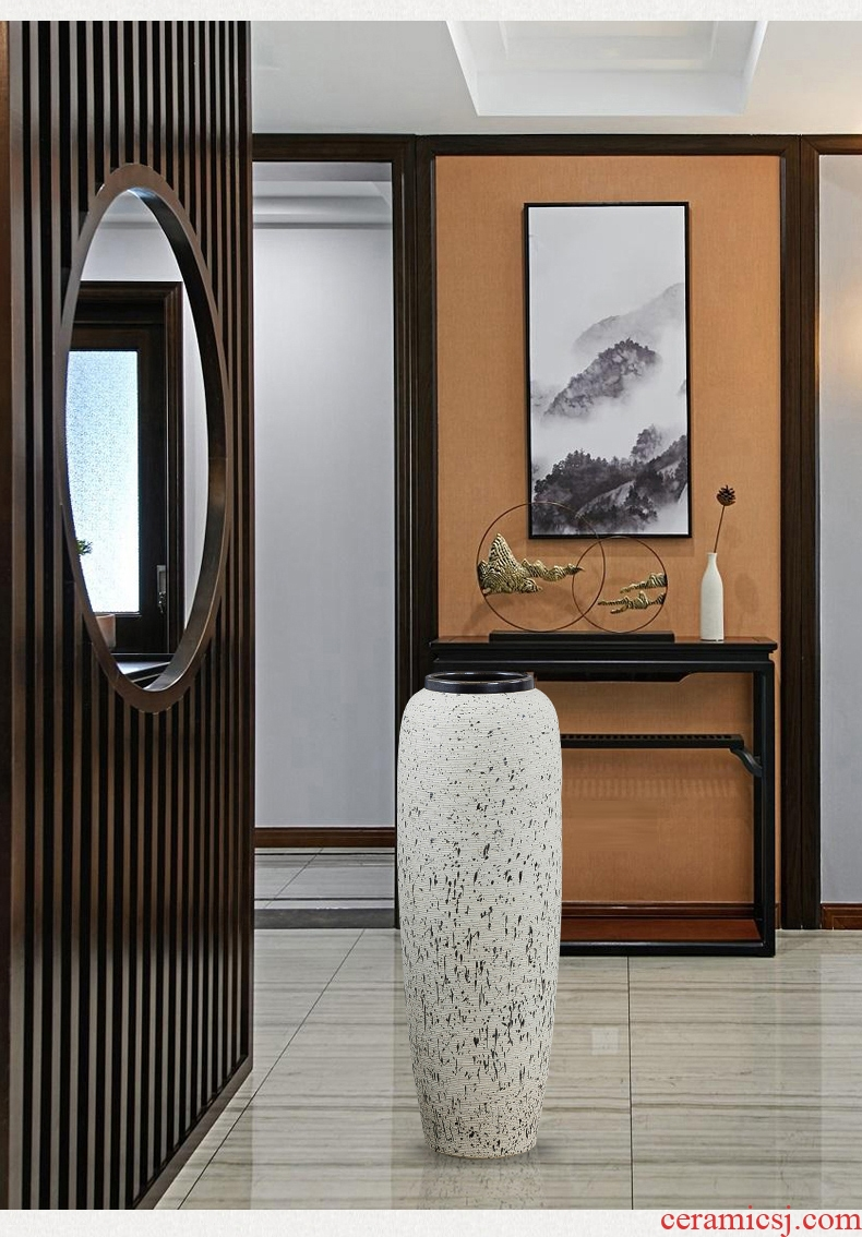Large ceramic vase light key-2 luxury ground hotel villa living room the dried flower arranging furnishing articles retro nostalgia pottery decoration - 588161472215