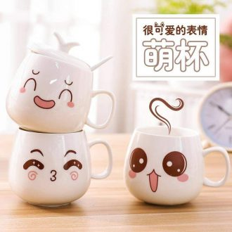 Ceramic drinking cup adult children with cover scoop home office koubei children lovely cartoon with a cover on it