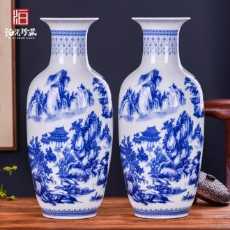 Jingdezhen ceramics vases, antique blue and white porcelain flower arranging new sitting room of Chinese style household act the role ofing is tasted furnishing articles TV ark