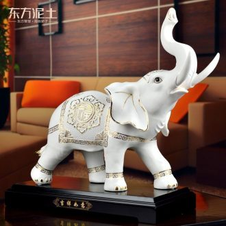 Oriental soil jixiangruyi ceramic elephant furnishing articles of Chinese style classical sitting room porch TV ark, home decoration