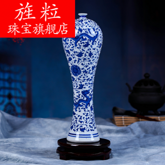 Continuous grain of jingdezhen blue and white vase sitting room of Chinese style restoring ancient ways chinaware coarse pottery zen gao furnishing articles