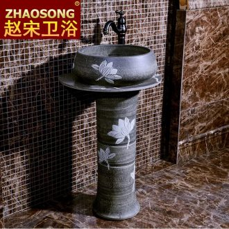 Basin of Chinese style restoring ancient ways pillar balcony lavatory household bathroom sink ceramic basin outdoor courtyard garden