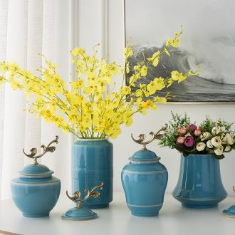 I the dining - room of Europe type vase flower arranging furnishing articles sitting room, bedroom adornment porcelain with cover a China ceramic bottle