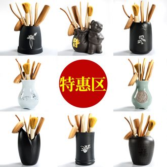 The cabinet household ceramic tea accessories kung fu tea set 6 gentleman bamboo tea spoon of black pen ChaGa ChaZhen contracted