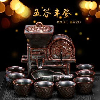 Semi automatic artifact lazy household creative personality cups kung fu tea tea set ceramic Chinese style restoring ancient ways