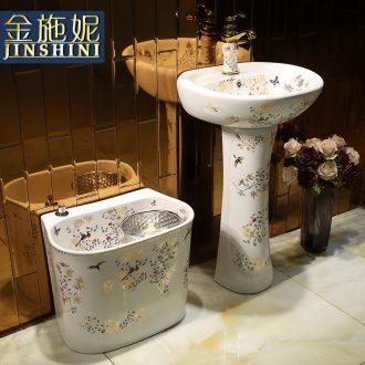 Bathroom sink one pillar basin retro balcony ceramic sanitary ware, small family toilet ground the lavatory