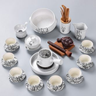 Tao blessing retro white kung fu tea set household ceramics of the silk road the whole tea kettle cup group