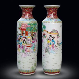 Jingdezhen ceramics hand - made pastel jinling twelve women of landing the big vases, Chinese style living room decorations furnishing articles