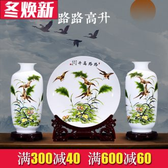 Jingdezhen ceramics Chinese vase three - piece household flower arranging the sitting room TV ark place small ornament