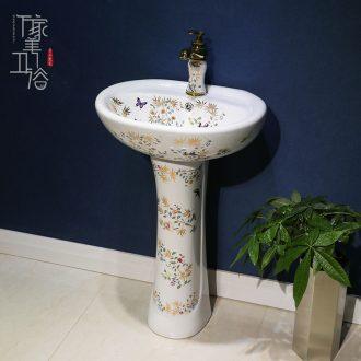 M the pillar type lavatory jingdezhen ceramic basin one-piece art pillar lavabo vertical landing platform