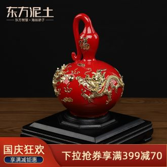 The east mud creative birthday gift to send your elders ceramic paint line carve process gourd furnishing articles/longevity