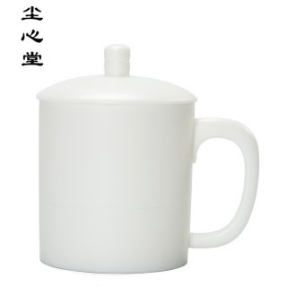 Dust heart of dehua white porcelain office cup and cup with cover ceramic tea cup main personal cup gift customization