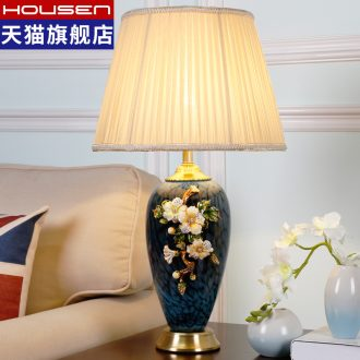 Luxury colored enamel lamp full copper european-style bedroom berth lamp American creative romantic and warm sitting room adornment ceramics