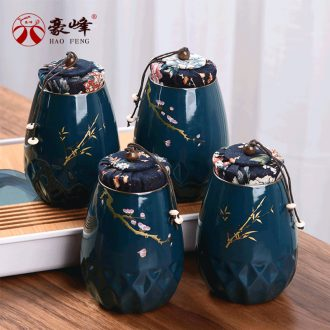 HaoFeng caddy fixings ceramic tea set suit household seal tank storage tanks tieguanyin store receives puer tea pot