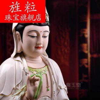 Bm ceramic avalokitesvara worship Buddha furnishing articles household small color 22 inches three guanyin