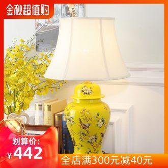 American atmospheric rural retro contracted sitting room bedroom berth lamp of jingdezhen hand-painted ceramic flower decoration