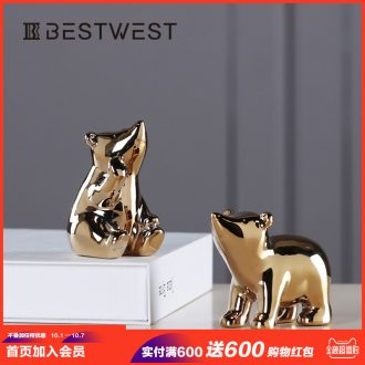 Polar bear furnishing articles combined packages ceramic handicraft decoration decoration home sitting room northern wind originality