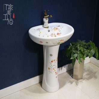 M beautiful art pillar basin one-piece sink basin of archaize floor ceramic lavatory floor type restoring ancient ways