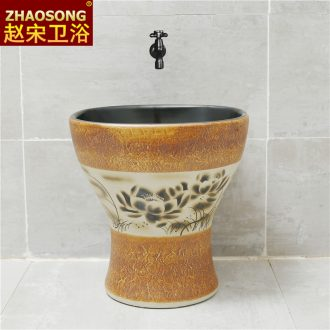 Nordic retro ceramic conjoined balcony mop pool square mop pool household mop basin sink outdoor toilet