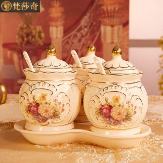 European ceramic seasoning tank suit three-piece combination with tray installed creative light much seasoning box seasoning bottle in the kitchen