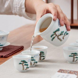 Qiu time fair ceramic tea cup points is kung fu tea tea accessories and white porcelain tea cup upset heat