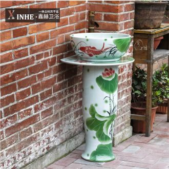 Basin of household toilet lavabo ceramic column column a whole floor small family balcony vertical basin washing a face